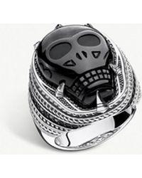 Thomas Sabo - Onyx Skull Sterling Silver Signet Ring - Lyst