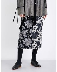 Song For The Mute - Strap-detail Floral-print High-rise Brocade Skirt - Lyst