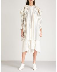 Renli Su - Collar-panel Striped Cotton And Linen-blend Jacket - Lyst