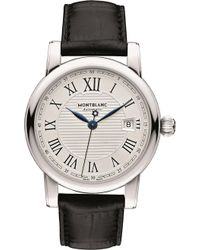 Montblanc - 107114 Star Stainless Steel And Leather Watch - Lyst