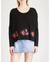 The Kooples - Embroidered Floral Wool And Cashmere-blend Jumper - Lyst