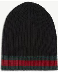 885a04eaae6 Lyst - Gucci Men s Charui Striped Wool Hat - Black - Size Medium in ...