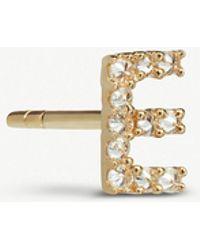 Annoushka - 18ct Gold Diamond Initial E Single Stud Earring - Lyst