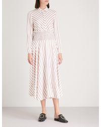 Maje - Smocked Waist Midi Dress - Lyst