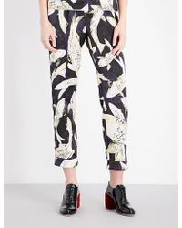 Erdem - Hiro Pond-print Cropped Silk-satin Trousers - Lyst