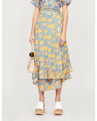 Apiece Apart - Feliz Floral-print Cotton And Silk-blend Wrap Skirt - Lyst