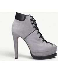 Alaïa - Heeled Suede Hiking Boots - Lyst