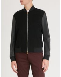 Paul Smith - Contrast Sleeves Cashmere And Leather Bomber Jacket - Lyst