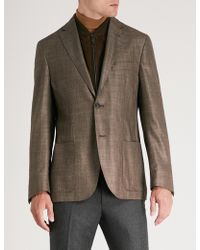 Corneliani - Id Regular-fit Silk Cashmere And Suede Jacket - Lyst