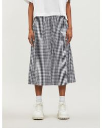 Mini Cream - Gingham-print Wide High-rise Cotton Trousers - Lyst