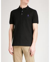 Ralph Lauren Purple Label - Logo-embroidered Cotton-piqué Polo Shirt - Lyst