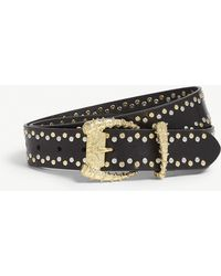 The Kooples - Studded Leather Belt With Horn Buckle - Lyst