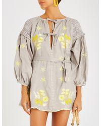 Innika Choo - Floral-embroidered Linen Mini Dress - Lyst