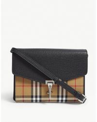 Burberry - Macken Vintage Check And Leather Cross-body Bag - Lyst