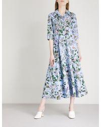 Erdem - Kasia Forest-print Cotton-poplin Dress - Lyst