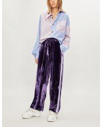 SERENA BUTE LONDON - Side-striped Velvet jogging Bottoms - Lyst