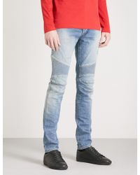 Balmain   Biker-detail Regular-fit Tapered Jeans   Lyst
