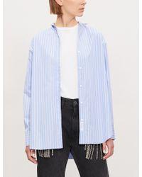 22db1873bd7a1 Lyst - Theory Isalva Band-collar Silk Shirt in Black