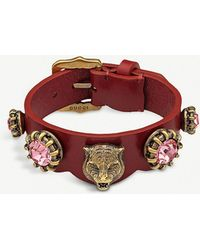 Gucci - Crystal And Leather Bracelet - Lyst