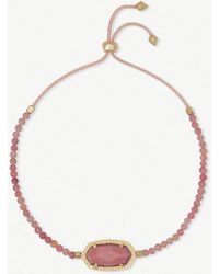 Kendra Scott - Elaina 14ct Yellow Gold-plated And Pink Rhodonite Bracelet - Lyst