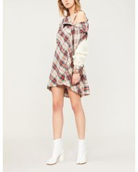 Ambush - Cold-shoulder Cotton-flannel And Wool-blend Dress - Lyst