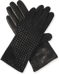 Armani - Basket-weave Leather Gloves - Lyst