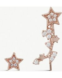 Olivia Burton - Celestial Star Crawler Rose Gold-plated And Crystal-embellished Earrings - Lyst