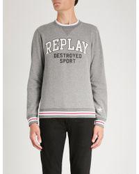 Replay - Destroyed Sport-print Cotton-blend Sweatshirt - Lyst