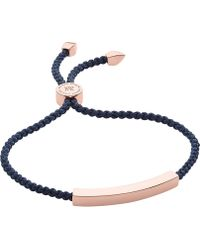 Monica Vinader - Linear Rose-gold Friendship Bracelet - Lyst