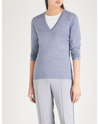 Brunello Cucinelli - V-neck Cashmere And Silk-blend Jumper - Lyst