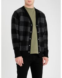 The Kooples - Checked Wool And Cashmere-blend Cardigan - Lyst