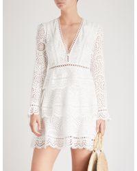 Zimmermann - Bayou Tiered Swirl Cotton Dress - Lyst