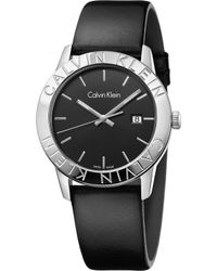 Calvin Klein - K7q211c1 Steady Stainless Steel And Leather Watch - Lyst