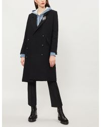 The Kooples - Brooch-embellished Double-breasted Woven Coat - Lyst