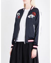 Izzue - Reversible Embroidered Satin Bomber Jacket - Lyst