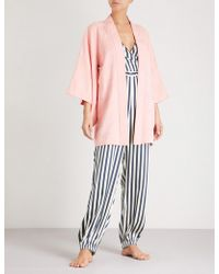 Kisshōten - Pink Feathers Silk-jacquard Kimono Robe - Lyst