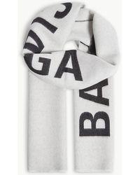 Balenciaga - Mens White And Black Archetype Logo-print Wool Scarf - Lyst