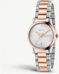 86a281606f4 Gucci - Ya126564 G-timeless Stainless Steel And Rose Gold-toned Watch - Lyst