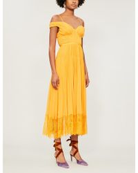 b9a7ca1cfcd5 Self-Portrait - Off-the-shoulder Lace-trimmed Pleated Chiffon Midi Dress