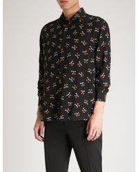 Saint Laurent - Mickey Mouse-print Regular-fit Silk-crepe Shirt - Lyst
