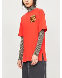 Mini Cream - Tuck Shop-appliqué Cotton-jersey T-shirt - Lyst