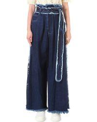 Miharayasuhiro - Frayed Wide-leg High-rise Jeans - Lyst