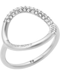 Michael Kors - Brilliance Silver-toned Pavé Ring - Lyst