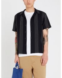 9773f53801 Sandro - Relaxed-fit Striped Short Sleeve Crepe Shirt - Lyst