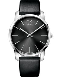 CALVIN KLEIN 205W39NYC - K2g21107 City Stainless Steel And Leather Watch - Lyst