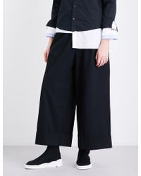 5cm - Pleated Wide Cropped High-rise Jersey Trousers - Lyst