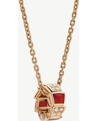 BVLGARI - Serpenti Viper 18kt Rose-gold Carnelian Crystal And Diamond Necklace - Lyst