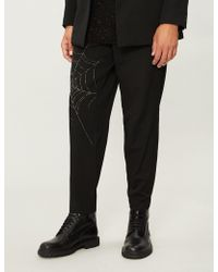 Yohji Yamamoto - Spider Web-print Tapered Wool Trousers - Lyst