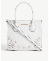 MICHAEL Michael Kors - Michael Kors Optic White Floral Mercer Embellished Leather Tote Bag - Lyst