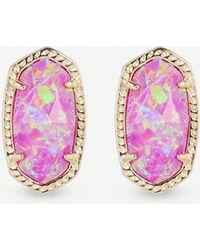 Kendra Scott - Ellie 14ct Gold-plated Fuschia Kyocera Opal Stud Earrings - Lyst